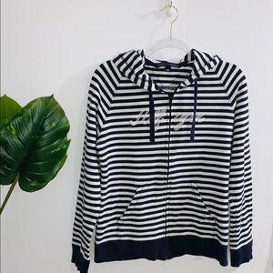 Tommy Hilfiger Navy Blue & White Striped Sweater